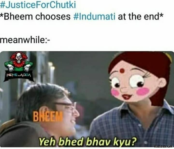 Bheem chooses indumati at the end Ye bhed bhav kyu meme