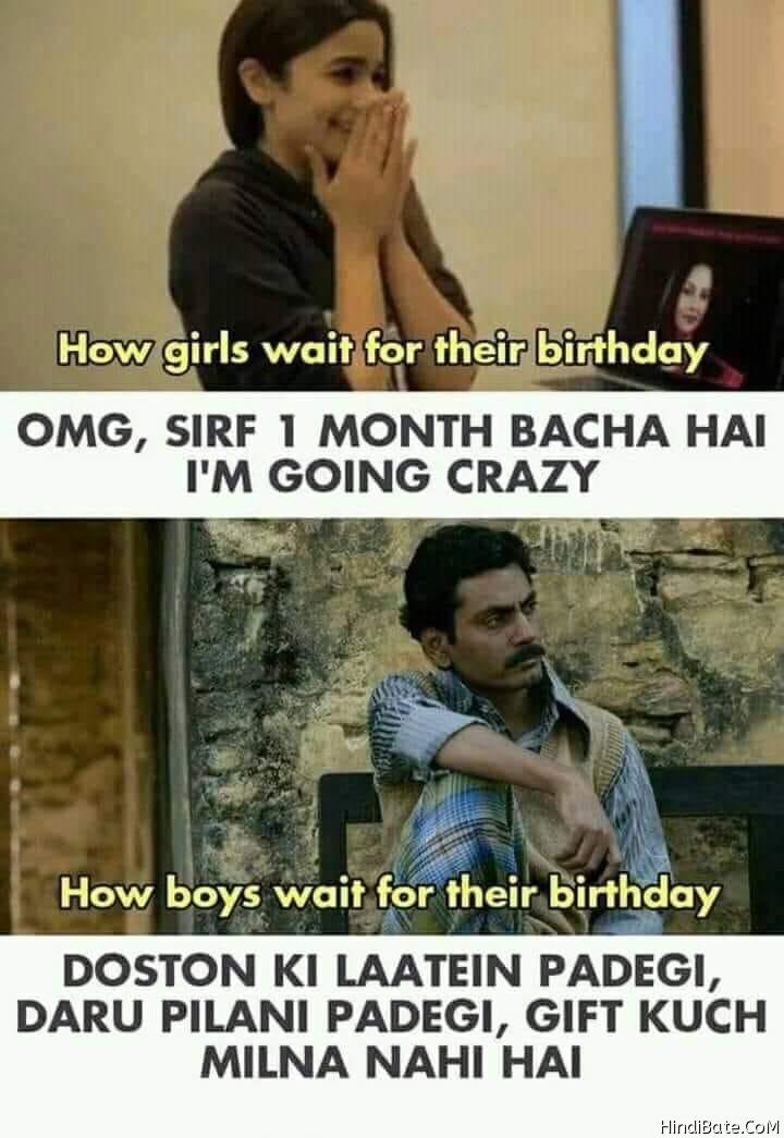 Boys vs Girls Memes in Hindi