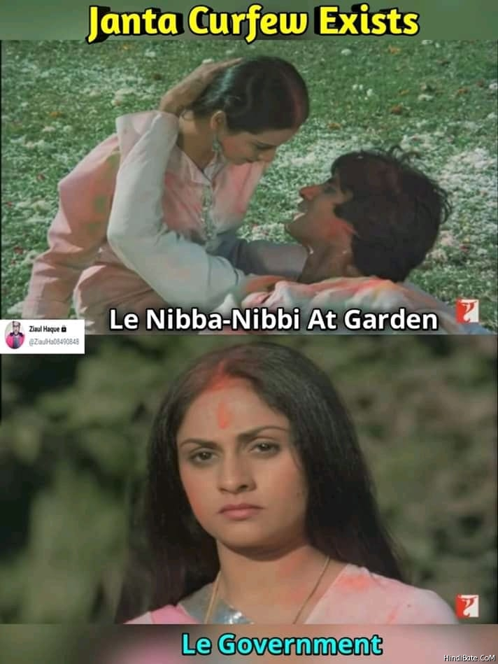 Janta curfew exists le nibba nibbi in garden le government meme