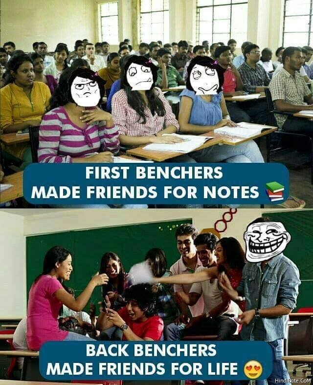 First Benchers Vs Last Benchers Memes in Hindi