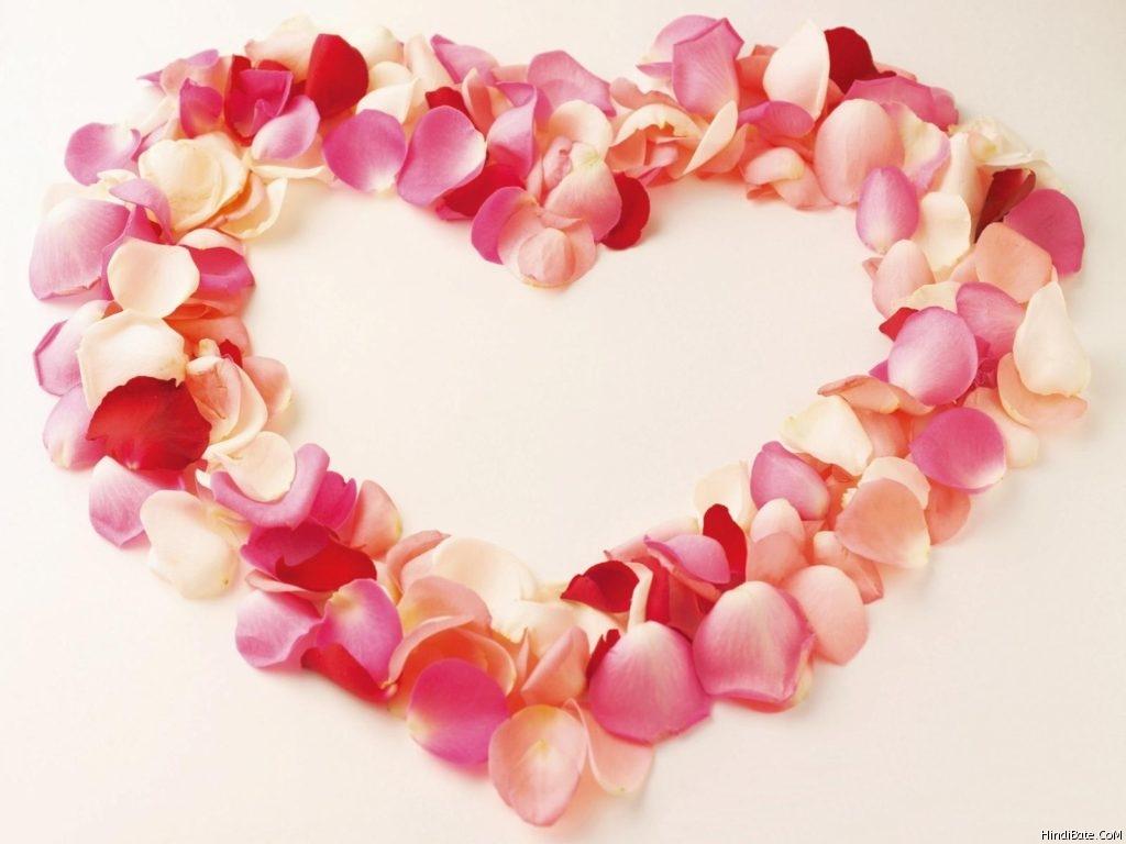 Love shaped rose petals