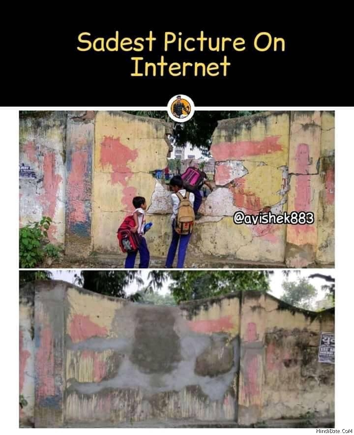 Saddest picture on internet school wall compound