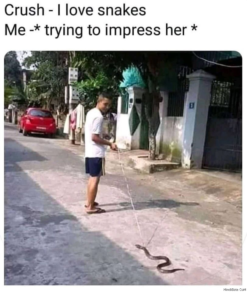 She I like snakes Me trying to impress her meme